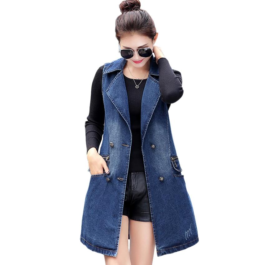 Women Long Denim Vest Coat 2016 New Spring Fashion Vintage Washed Double Breasted Sleeveless ...
