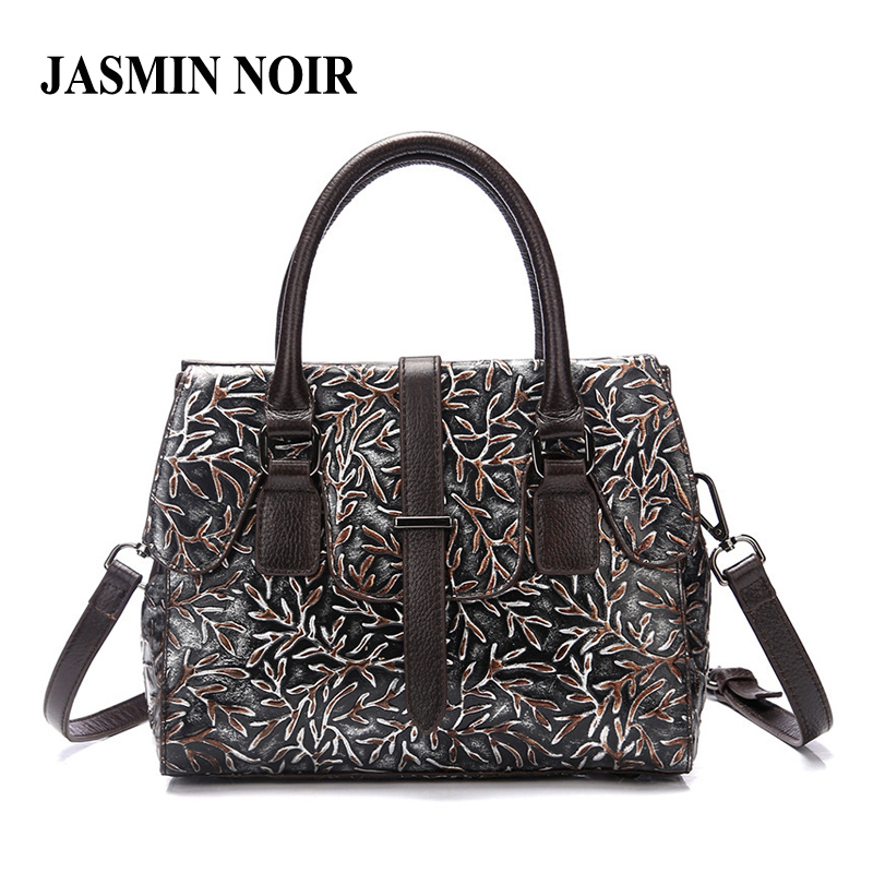 Vintage New Brand Genuine Leather Women Handbag Floral Embossed Real Cow Female Designer Shoulder Crossbody Bag Large Tote Bag nucelle brand new design vintage envelope lock cow leather women ladies handbag shoulder crossbody bag