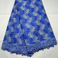 New arrival Wholesale Swiss voile lace fabric for wedding dress royal blue African Swiss Voile Lace High Quality