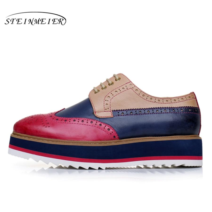 Echte schapenvacht lederen brogue designer vintage yinzo platte schoenen handgemaakte platte platform rode oxford schoenen voor vrouwen 2018 winter-in Platte damesschoenen van Schoenen op  Groep 3