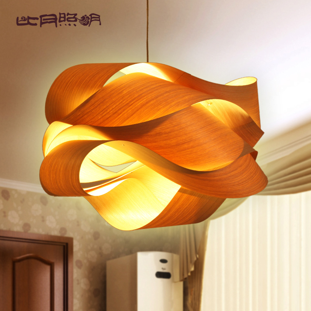 Chinese style wood project light veneer lamps personalized for Replica lampen