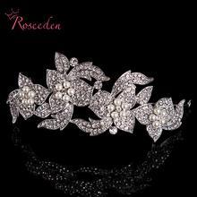 2016 Señoras de Plata Flor Del Rhinestone Perlas de Cristal Tiara Nupcial de La Boda Diadema de Pelo Accesorios de La Joyería RE126