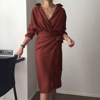 SuperAen Women Fashion Dress Solid Color Cotton Temperament Dress Ladies Long Sleeve Autumn New 2017 Korean