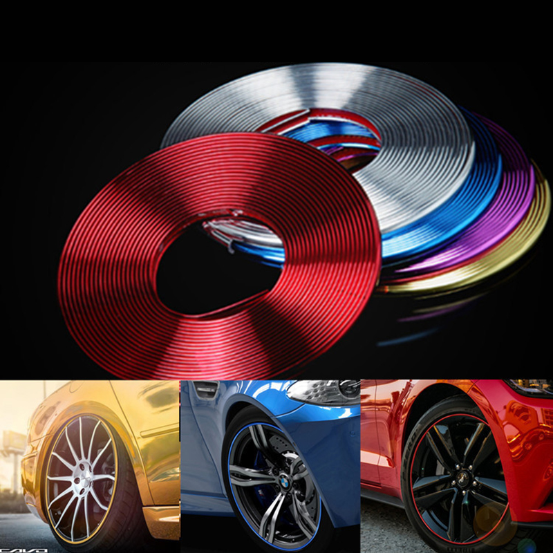 8M Car Stickers Car Vehicle Color Wheel Edge Rims Protectors Decor Strip Tire Guard Line Rubber Moulding Trim Tire Protection