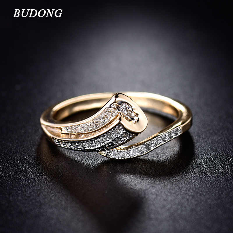 BUDONG High Quality Fashion Unique Finger Band for Women Gold-Color Ring Pave Crystal CZ Zircon Statement Jewelry for Mother