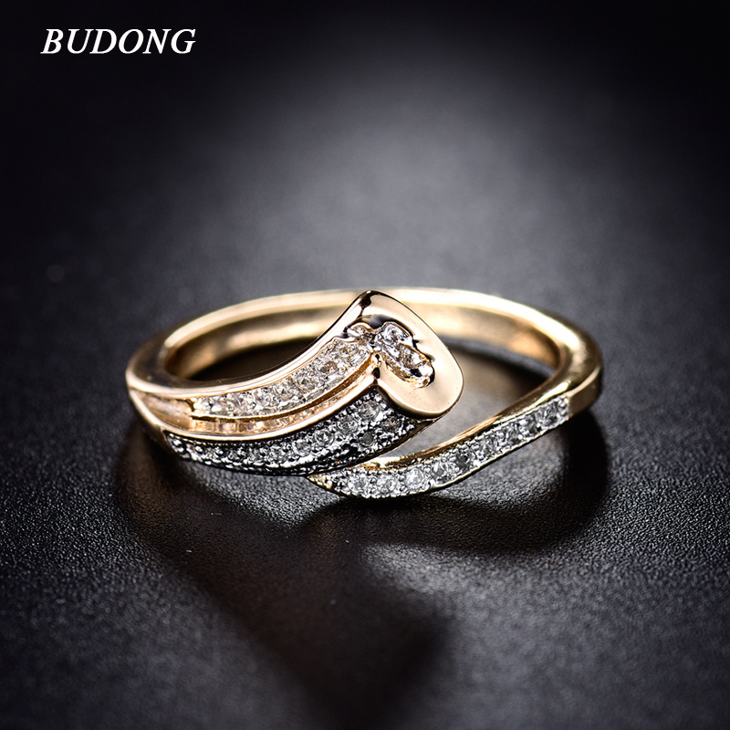 BUDONG High Quality Fashion Unik Finger Band til Kvinder Guldfarve Ring Pave Crystal CZ Zircon Statement Smykker til Moder