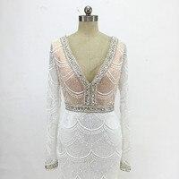 Luxury Lace Mermaid Wedding Dress For Bridal 2018 V Neck Embroidery Heavy Beaded Court Train Bridal