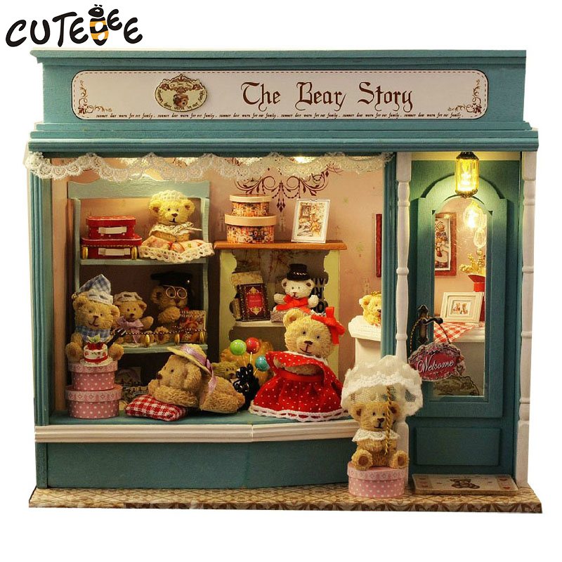 CUTEBEE Doll House Miniature DIY Dollhouse With Furnitures Wooden House  Toys For Children Birthday Gift the bear story E-002 doll house furniture diy miniature 3d wooden miniaturas dollhouse toys for children birthday gift christmas a037