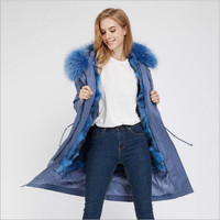 Real Fur Parka For Women Winter Real Fox Fur Lining Coat Raccoon Fur Hoodie Cotton Jacket