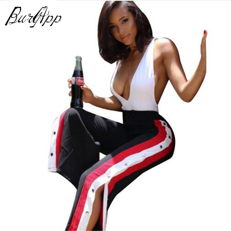 sexy High Split Woman Wide Leg Pants Fashion Side Button Pants Loose Casual Trousers For Women Wide Legs Pant Joining together