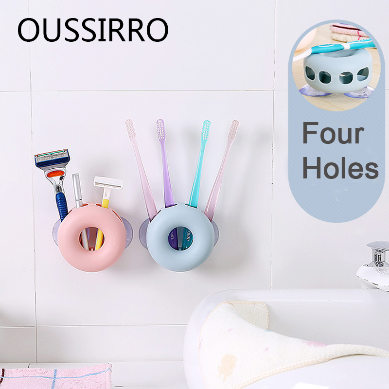 1Pcs Creative Sucker Toothbrush Holder Storage Rack Porous Bathroom Kitchen Wall-mounted Kitchenware Storage Rack Save Space