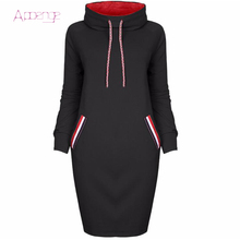 APOENGE 2017 Autumn Winter Sweatershirt Dress For Women Hooded Pullover Female Long Sleeve Hoodies Thin Dresses Vestido LZ551
