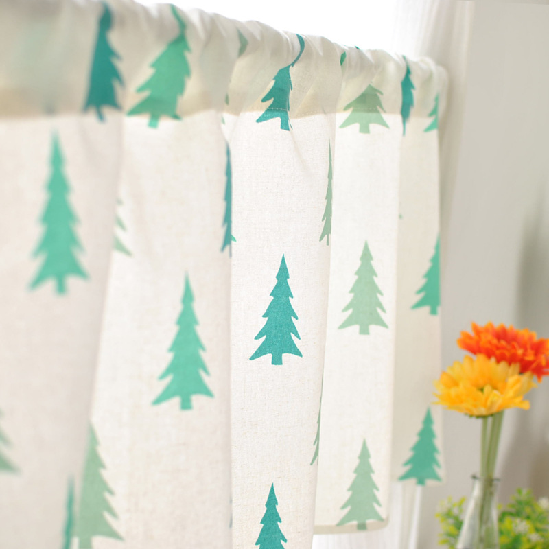 Fresh Korean Kitchen Cloth Curtain Short Half Curtain Toilet Small Windows  Decoration Short Kitchen Curtain