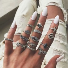 2019 Season New Trendy Multi-piece Set Bohemia Women Vintage Silver Rings Leaf Cross Flower Snake Elephant Jewely Ring For