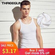 THREEGUN Brand Men Casual Undershirts Cotton Slim Fit Men Undershirts Bodybuilding Gold Fitness Male Slim Bottoming Underwear