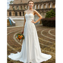 LAN TING BRIDE Sheath Column Wedding Dress Sleeveless Strapless Court Train Taffeta Sheath Bridal Gown with Vintage
