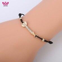 Gold Silver Arrows Crystal Bracelet for Women Elastic Rope Chain AAA Cubic Zircon Environmental pulsera font