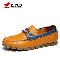 Zsuo Мокасины мужские летние искусственная кожа Обувь для прогулок. дышащий облегающие кожаные туфли
