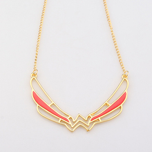 Fashion Hot Movie Wonder Woman Pendant Necklace for Women Gold Color Red Enamel Superhero Necklace Collares