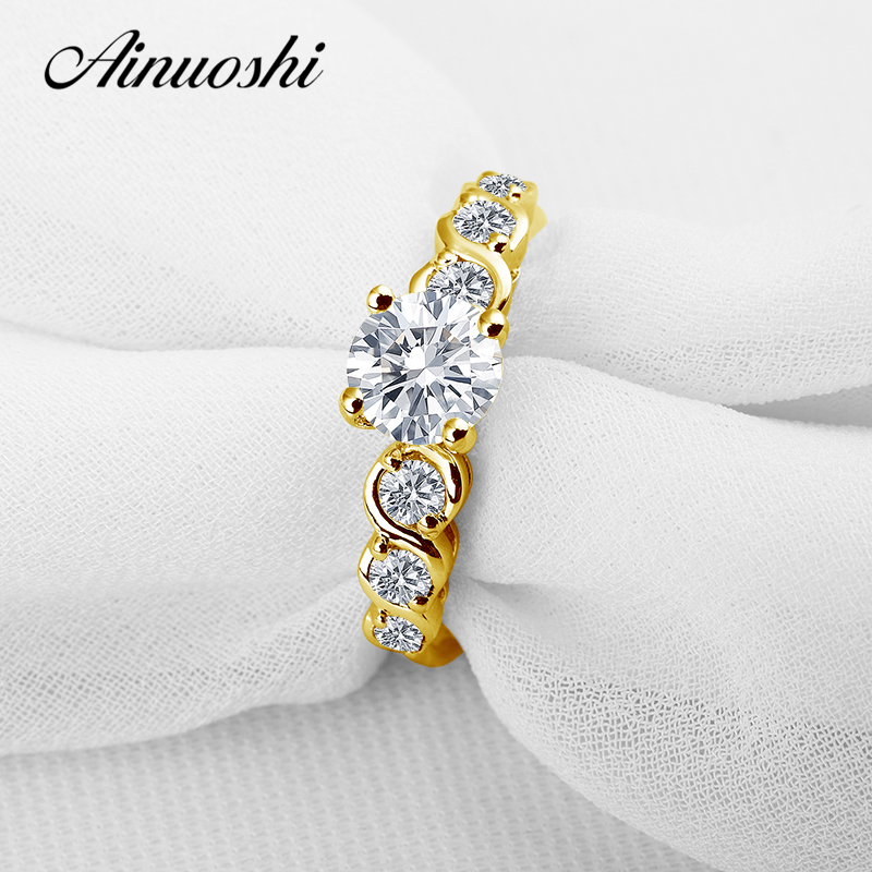 AINUOSHI 10K Solid Yellow Gold Engagement Ring 1 ct Snoa Simulated Diamond Anelli Donna Bijoux Fashion Women Birthday Gift Rings ainuoshi 10k solid yellow gold wedding ring 1 25 ct solitaire simulated diamond anelli donna brilliant proposal rings for women