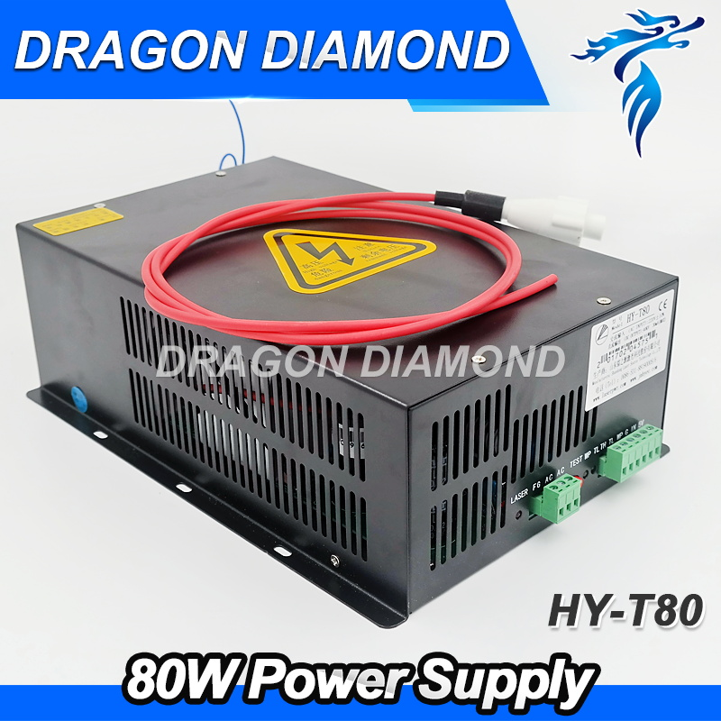 High voltage 80W Laser Power Supply for laser tube CO2 Laser Power Supply for CO2 Laser Engraving Cutting Machine HY-T80 high quality rd 6442 laser controller main board for co2 laser cutting engraving machine
