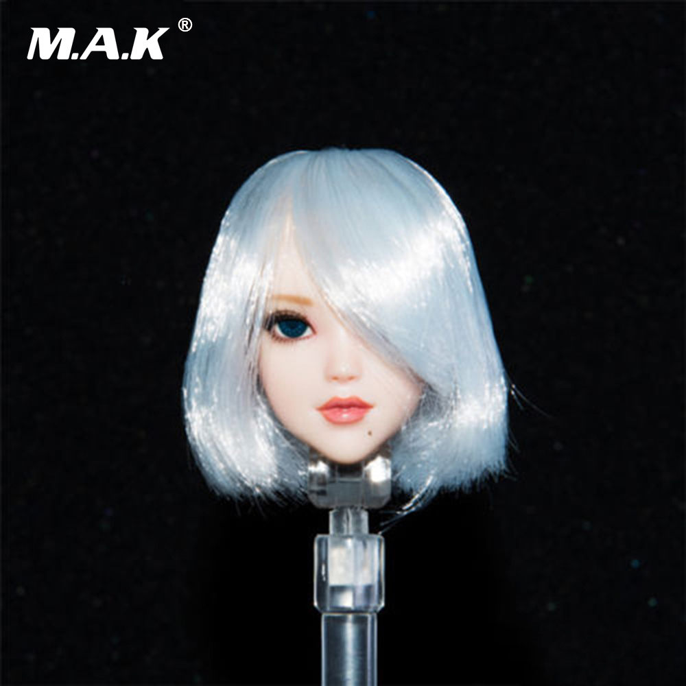 1/6 Scale Female Head Sculpt with Movable Eyes Automata 2B Girl Short White Hair Head Carving Model for 12'' Female Figure Body 1 6 scale asian female head sculpt with black long hair models toys for 12 female action figure