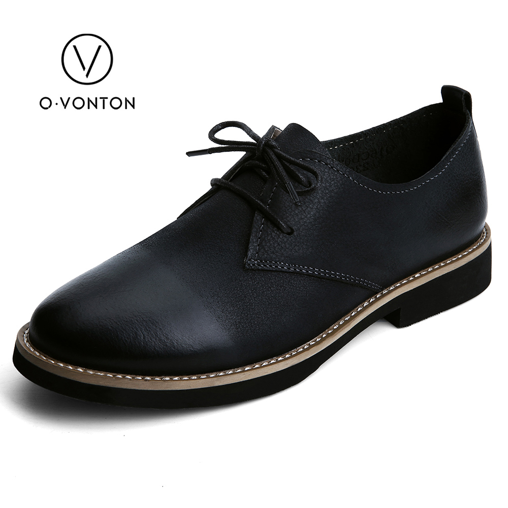 Q.VONTON Women Shoes With Low Heels 2017 New Arrival Genuine Leather Lace Up Flats Retro Casual Fashion Female Handmade Shoes hot 2016 new ggdb women shoes golden goose superstar genuine leather blue casual shoes men women sport flats low cut g23d122 p1