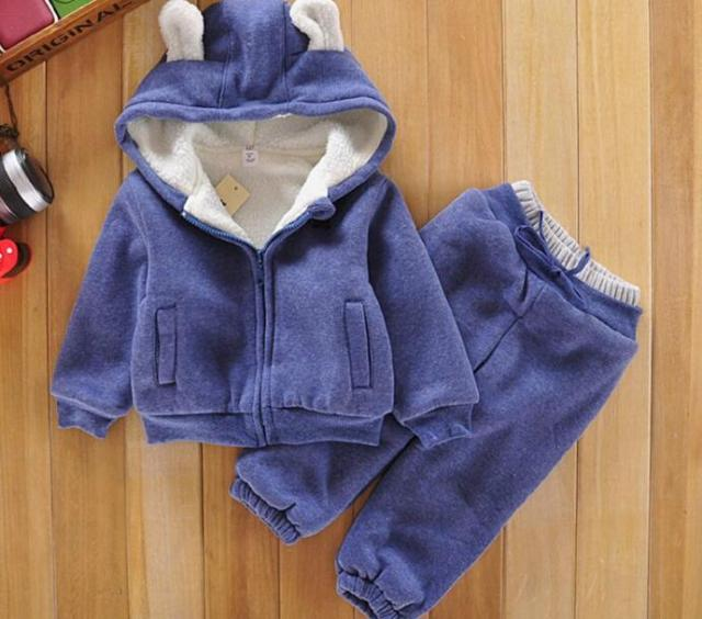 Winter spring baby girls Boys clothing set thick Velvet Hoddies Coat+Pants Suit Cotton Kids Clothing set Children clothing