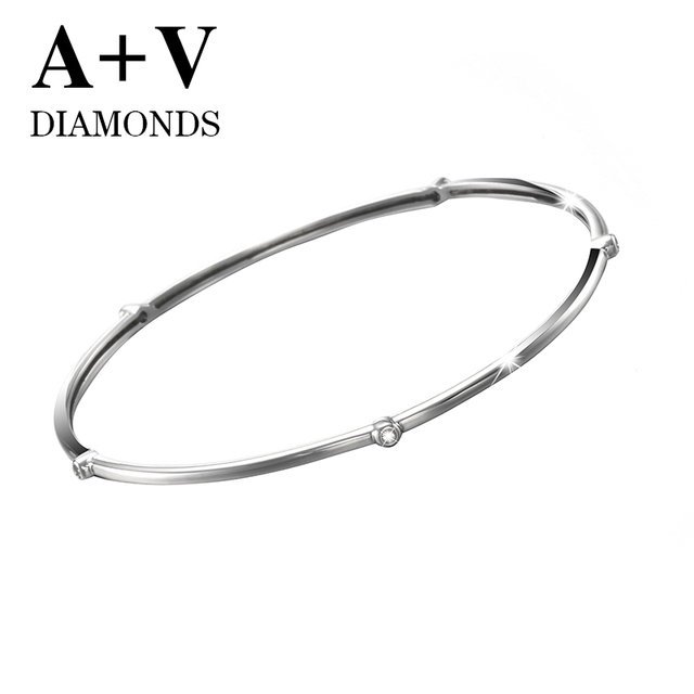 free shipping 18k white gold nature diamond classic casual bangle for women engagement  party