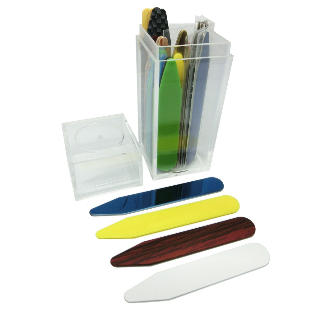 SHANH ZUN 30 Pcs Mixed Colorful Collar Stiffeners Stainless Steel Collar Bones Plastic Collar Stays 2 Sizes