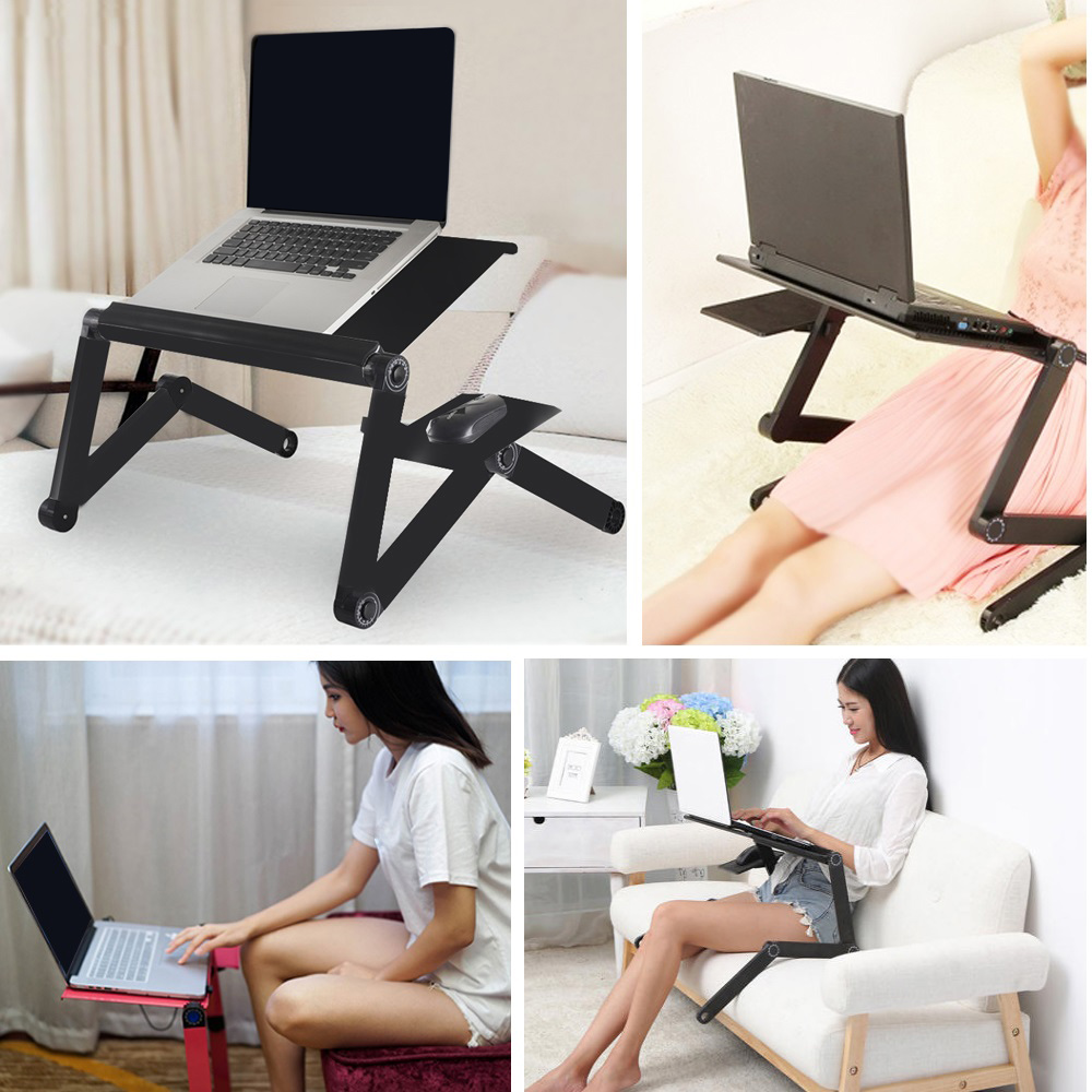 Hot Sale Tray Portable Foldable Adjustable Laptop Desk Computer Table Stand Tray For Sofa Bed Black Computer Desk Notebook Stand(China)