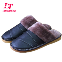 Men Warm Slippers 2017 Winter Genuine Leather Home Slippers Male Soft Waterproof Anti-Slip Slippers Plush Warm Indoor Shoes
