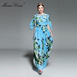 Image 4 - MoaaYina concepteur piste Maxi robe été femmes Flare manches imprimé fleuri citron ceintures loisirs vacances bohême robe élégante