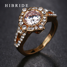HIBRIDE Brand Luxury Bridal Wedding Big Round Cut New Cubic Ziron Rings Women Fashion Jewelry For
