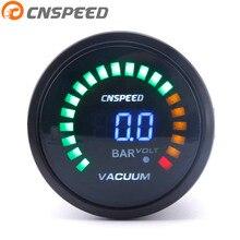 Free Shipping CNSPEED 2 Inch 52mm Digital Auto Vacuum Gauge -1.0~0 bar Racing Smoke Analog Car meter
