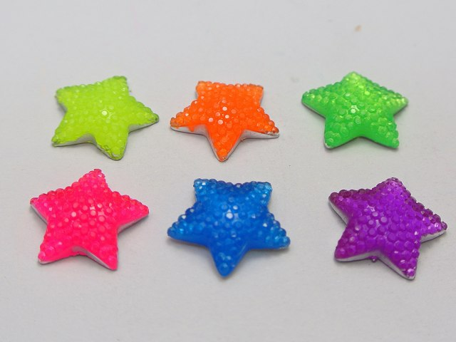 100 Mixed Neon Color Flatback Resin Cabochon Dotted Star Rhinestone Gems <font><b>15X15mm</b></font> image