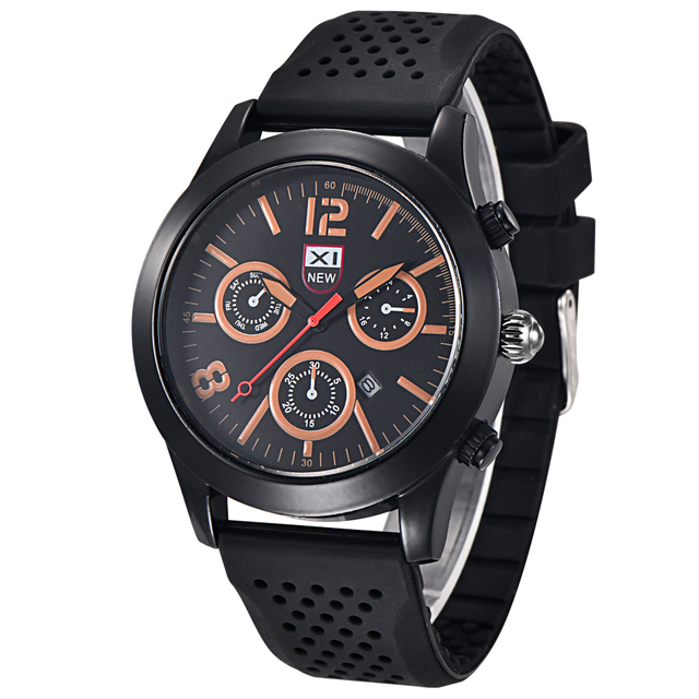 bbb6f605fd0 Brand XINEW 2018 Mens Silicone Watches Stainless Steel Back Fashion Sports  Casual Quartz Watch relogio Masculino marca esportivo