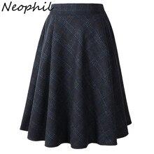 Neophil Зимняя шерстяная клетчатая школьная плиссированная юбка средней длины с высокой талией Женская шерстяная юбка-пачка в английском стиле серого цвета и цвета хаки Saia 1926