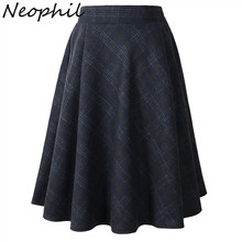 Neophil 2019 Winter High Waist Woolen Plaid School Pleated Midi Skirts Women Gray Khaki England Style Tartan Wool Tutu Saia 1926