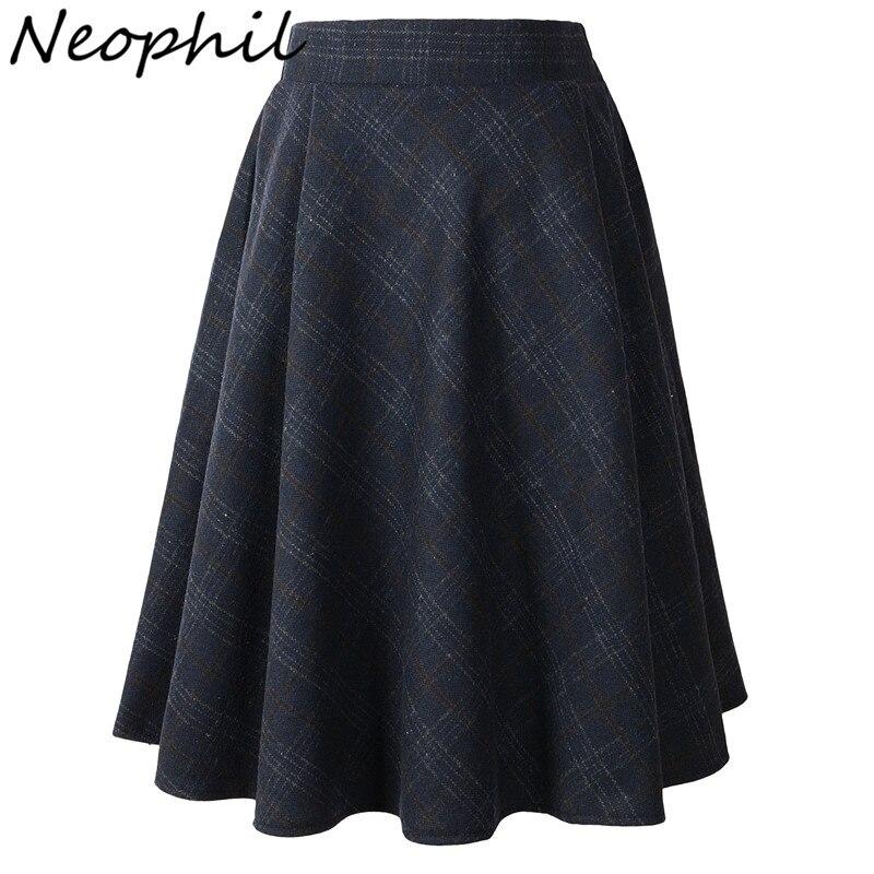 Neophil 2020 Winter High Waist Woolen Plaid School Pleated Midi Skirts Women Gray Khaki England Style Tartan Wool Tutu Saia 1926