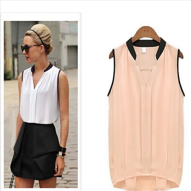 Blouses Womens Fashion Trends 2017 Summer Casual Chiffon Solid Sleeveless Shirts Women Tops Cheap Costume