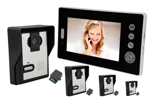 4V1  7 Inch  2.4Ghz Wireless Video Doorbell Open Lock  Two Way Intercom System Video Door Phone