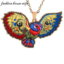 Fashion House Wife Punk Acrylic Metal Eagle Long Pendant Necklace For Women Men Animal Statement Maxi Necklace Jewelry LN0111