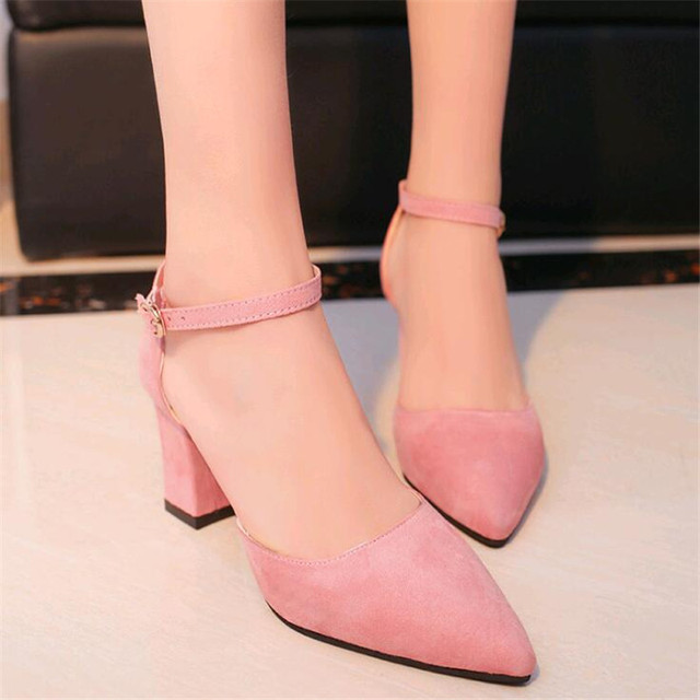 232837bcd 2019 Summer New Fashion Women s Shoes Pointed Pink High Heel Stiletto Wild  Sexy Word Buckle Sandals