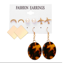 Mixed 5 Pairs/set Bohemian Star Moon Acrylic Earring For Women Geometric Leopard Print Earring Fashion недорого