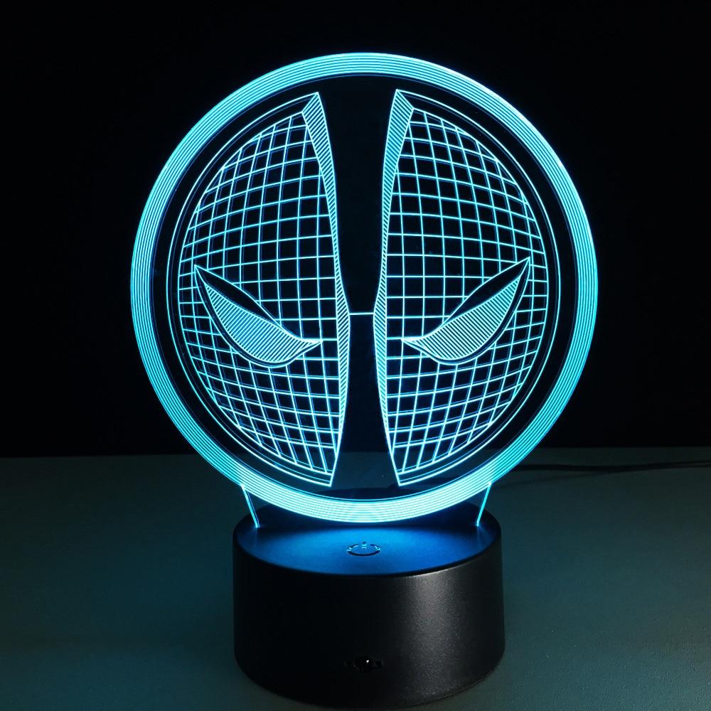 Deadpool ใบหน้า 3D Led แสงภาพไฟในคืน Deadpool หน้ากาก USB LED สร้างสรรค์ 3D แสงโคมไฟของขวัญคริสมาสต์