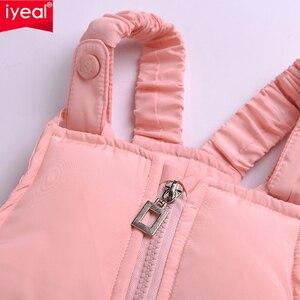 Image 5 - IYEAL/детская одежда для русской зимы лыжный костюм для малышей, парка пуховик + комбинезон комплекты одежды для девочек плотная теплая верхняя одежда для детей