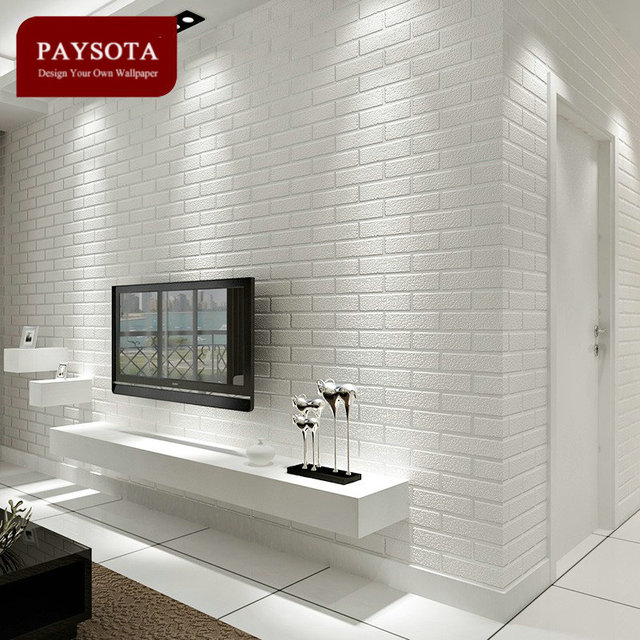 PAYSOTA Non Woven White Brick Grain Wallpaper Bedroom Living Room TV  Setting Sofa Background Wall