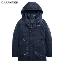 CARANFIER Men Winter Casual Parka Liner Detachable Solid Badge Geometric Pocket Thick Jacket Warm Male Soft Two Way Outerwear