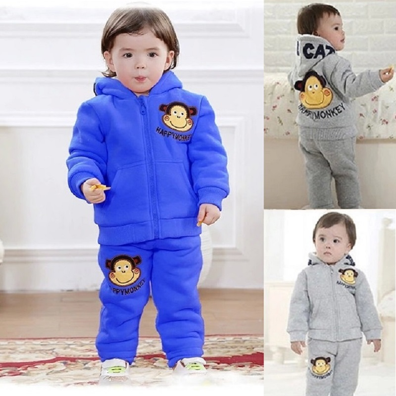Happy Monkey Baby Boys Tracksuits Thick Fleece Winter Warmer Infant Coat Trouser Hoodies Jacket Pant Children Sport Clothes Suit